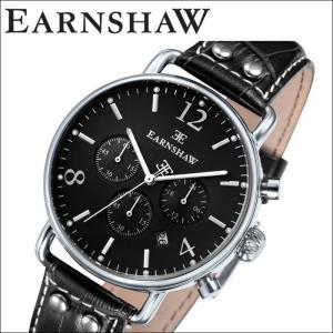 【当店ならお得クーポンあり】(正規品) アーンショウ EARNSHAW  時計 腕時計 メンズ シルバー ブラック レザー ES-8001-03 (ty7)|ryus-select