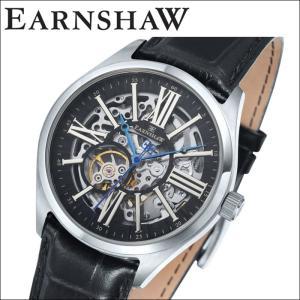 【当店ならお得クーポンあり】(正規品) アーンショウ EARNSHAW  時計 腕時計 メンズ シルバー ブラック レザー ES-8037-01 (ty7)|ryus-select