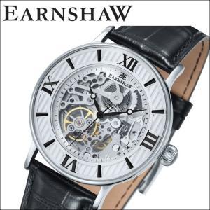 【当店ならお得クーポンあり】(正規品) アーンショウ EARNSHAW  時計 腕時計 メンズ シルバー ブラック レザー ES-8038-02 (ty7)|ryus-select
