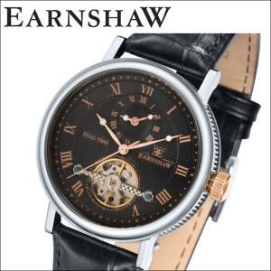 【当店ならお得クーポンあり】(正規品) アーンショウ EARNSHAW  時計 腕時計 メンズ ブラック ピンクゴールド レザー ES-8047-01 (ty7)|ryus-select