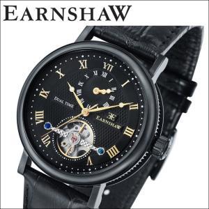 【当店ならお得クーポンあり】(正規品) アーンショウ EARNSHAW  時計 腕時計 メンズ ブラック ブラック レザー ES-8047-09 (ty7)|ryus-select