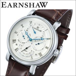 【当店ならお得クーポンあり】(正規品) アーンショウ EARNSHAW  時計 腕時計 メンズ シルバー ブラウン レザー ES-8048-01 (ty7)|ryus-select