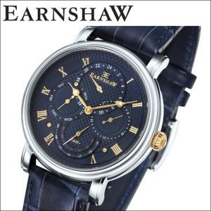 【当店ならお得クーポンあり】(正規品) アーンショウ EARNSHAW  時計 腕時計 メンズ シルバー ネイビー レザー ES-8048-03 (ty7)|ryus-select
