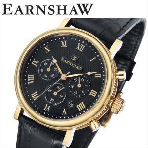 【当店ならお得クーポンあり】(正規品) アーンショウ EARNSHAW  時計 腕時計 メンズ ゴールド ブラック レザー ES-8051-05 (ty7)|ryus-select
