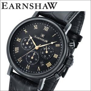 【当店ならお得クーポンあり】(正規品) アーンショウ EARNSHAW  時計 腕時計 メンズ ブラック ブラック レザー ES-8051-06 (ty7)|ryus-select