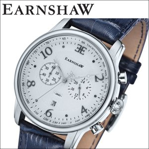 【当店ならお得クーポンあり】(正規品) アーンショウ EARNSHAW  時計 腕時計 メンズ シルバー ネイビー レザー ES-8058-01 (ty7)|ryus-select