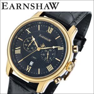 【当店ならお得クーポンあり】(正規品) アーンショウ EARNSHAW  時計 腕時計 メンズ ゴールド ブラック レザー ES-8058-04 (ty7)|ryus-select