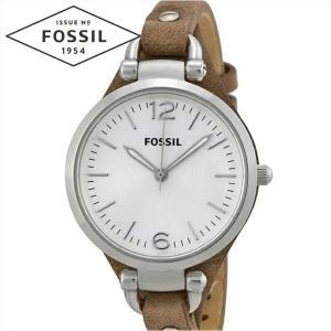 フォッシル FOSSIL ジョージア ES3060時計 腕時計  レディースシルバー ブラウン レザー|ryus-select
