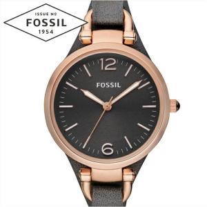 フォッシル FOSSIL ジョージア ES3077時計 腕時計  レディースガンメタルグレー ダークグレー レザー|ryus-select