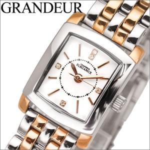 【当店ならお得クーポンあり】グランドール/GRANDEUR レディース 時計 ESL047W1/ホワイト/シルバー×ピンクゴールドクリスタル ryus-select