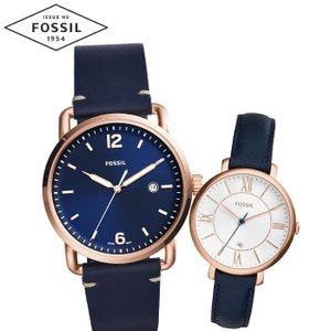 【当店ならお得クーポンあり】ペアウォッチ フォッシル FOSSILメンズ/FS5274 レディース/ES3843時計 腕時計 ピンクゴールド ブルー レザー(k-15)|ryus-select