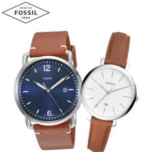 【当店ならお得クーポンあり】ペアウォッチ フォッシル FOSSILメンズ/FS5325 レディース/ES4368時計 腕時計 ブラウン レザー(k-15) ryus-select
