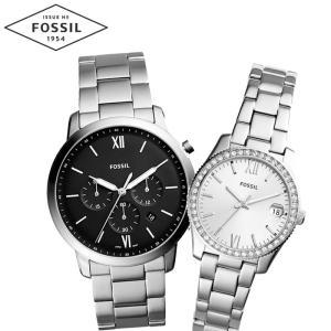【当店ならお得クーポンあり】ペアウォッチ フォッシル FOSSILメンズ/FS5384 レディース/ES4317時計 腕時計 シルバー クリスタル(k-15) ryus-select