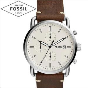 フォッシル FOSSIL FS5402 コミューター時計 腕時計 メンズ アイボリー ブラウン レザー|ryus-select
