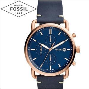 フォッシル FOSSIL FS5404 コミューター 時計 腕時計 メンズ ネイビー レザー 青い腕時計|ryus-select