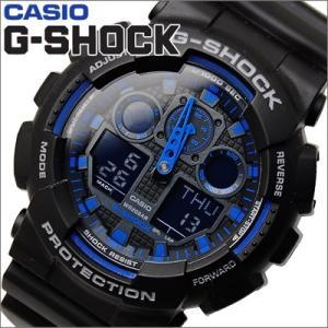 時計 (64) カシオ CASIO G-SHOCK Gショック 腕時計 GA-100-1A2 アナログ&デジタル コンビ ブラック×ブルー ryus-select