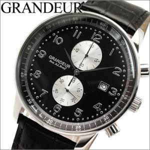 グランドール GRANDEUR メンズ 時計 OSC022W3 ブラック×ブラックレザー クロノグラフ|ryus-select