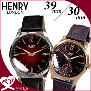 ペアウォッチ ヘンリーロンドン  (P12) HL39-S-0095 (5) HL30-US-0076 (58)時計 腕時計  メンズ レディース39mm&30mm レッド ブラウン レザー|ryus-select