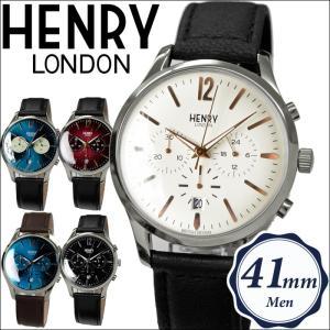 【当店ならお得クーポンあり】ヘンリーロンドン/時計 41mm クロノグラフ/レザ/ウォッチ/メンズ|ryus-select