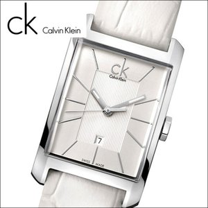 (5年保証)  (66) カルバンクライン Calvin Klein メンズ 時計 (K2M21120) (K2M211.20) スクエア シルバー×ホワイトレザーウィンドウ (WINDOW)|ryus-select