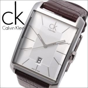 (5年保証)  (35) カルバンクライン Calvin Klein メンズ 時計 (ウィンドウ) スクエア シルバー×ブラウンレザー (K2M21126)|ryus-select