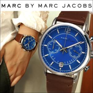マークバイ マークジェイコブス メンズ 時計(MBM5066)ブルー×シルバー/ブラウンレザー Fergus (ファーガス)クロノグラフ、本物だから安心|ryus-select