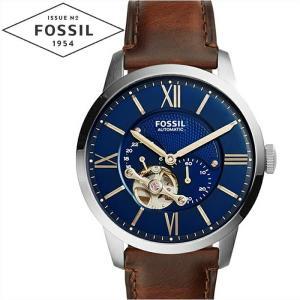 フォッシル FOSSIL ME3110 タウンズマン 自動巻き 時計 腕時計 メンズ ネイビー ブラウン レザー 青い腕時計|ryus-select