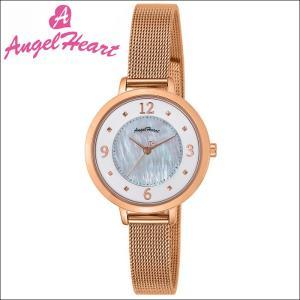 (ショップ袋付)エンジェルハート Angel Heartヌーディ―ドロップ 時計 腕時計 レディースND30PG ソーラー電池 ホワイトシェル ピンクゴールド メッシュ|ryus-select