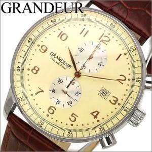 【当店ならお得クーポンあり】グランドール/GRANDEUR メンズ 時計 OSC022W2/クリーム×ブラウンレザー ryus-select