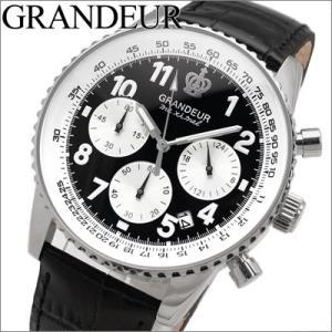 グランドール GRANDEUR メンズ 時計 OSC028W1 ブラック レザー|ryus-select