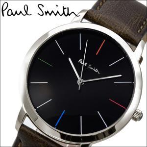 ポールスミス/PAUL SMITH 腕時計(P10052)ブラック×シルバー/ダークブラウンレザー|ryus-select