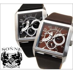 時計 ゾンネ SONNE メンズ 腕時計 S133BWLE S133NLE スクエア マルチカレンダー全2色|ryus-select