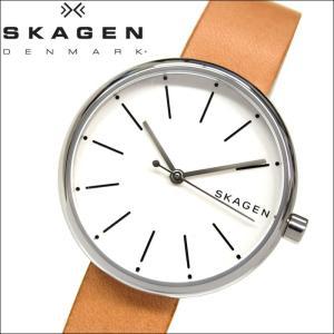 【当店ならお得クーポンあり】スカーゲン SKAGEN SKW2594時計 腕時計 レディースブラウン ホワイト レザー|ryus-select