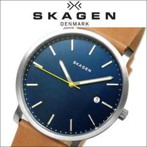 スカーゲン SKAGEN時計 腕時計 メンズ レディース ユニセックスレザー ブルーシルバー ブラウン SKW6279|ryus-select