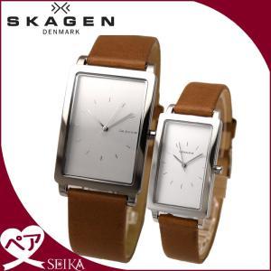 【当店ならお得クーポンあり】ペアウォッチ スカーゲン  ハーゲン レクタンギュラー時計 腕時計  メンズ レディースレザー SKW6289 SKW2464 (C)|ryus-select