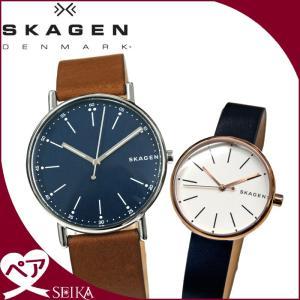 【当店ならお得クーポンあり】ペアウォッチ スカーゲン  SKW6355 メンズ SKW2592 レディース時計 腕時計 ネイビー ブラウン ピンクゴールド レザー|ryus-select