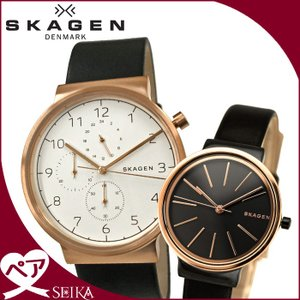 【当店ならお得クーポンあり】ペアウォッチ スカーゲン SKW6371(メンズ) SKW2480(レディース)時計 腕時計 メンズ レディース ブラック ピンクゴールド レザー|ryus-select