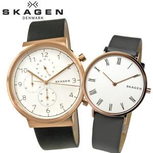 ペアウォッチ スカーゲン  SKW6371/メンズ SKW2674/レディース時計 腕時計 ピンクゴールド ブラック グレー レザー|ryus-select