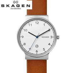 (レビューを書いて5年保証) (サマークリアランス) 時計 スカーゲン SKAGEN SKW6433 腕時計 メンズ ブラウン レザー 白い腕時計|ryus-select