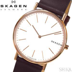 (レビューを書いて5年保証) 時計 スカーゲン SKAGEN SKW8600 シグネチャー 腕時計 メンズ ホワイト ブラウン レザー 激レア (2019年干支の猪の刻印入り)|ryus-select