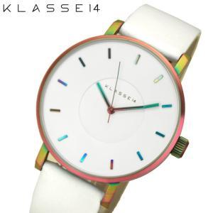 (レビューを書いて5年保証) 時計 クラス14 KLASSE14 マリオ ノビル ヴォラーレ 腕時計 メンズ レディース レザー 42mmレインボー VO16TI003M (40) ホワイト|ryus-select