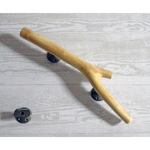 手すり 取っ手  H1526 流木ハンドル ドアノブ 長さ44.3cm 中央太さ3.5〜3.9cm 硬質素材 レア一点もの 金具固定済み出荷|ryuubokua-to