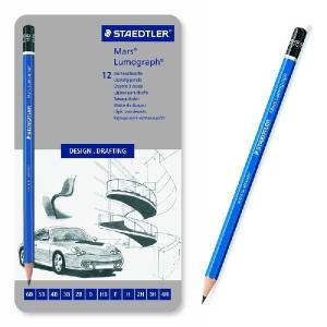 【ステッドラー】STAEDTLER 鉛筆 ルモグラフ 製図用 12硬度セット 缶ケース 100G12 デッサン 【メール便OK】|s-bunkadou