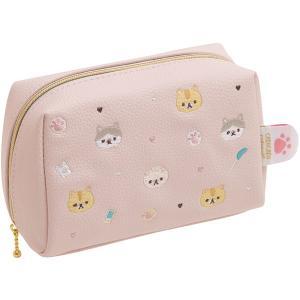サンエックス ころころコロニャ ポーチ CU48001 / ピンク 刺繍 猫 ねこ ネコ コロニャ ぱりぴちゃん  小物入れ 化粧ポーチ|s-bunkadou