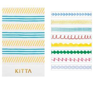 ちいさく持てるマスキングテープ KITTA Slim/キッタスリム【ライン】(10枚×8柄) KITS005【キングジム】メール便OK|s-bunkadou