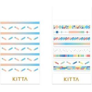 ちいさく持てるマスキングテープ KITTA キッタスリム KITS008 カラーバー【キングジム】メール便OK|s-bunkadou