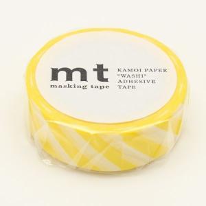 マスキングテープ ストライプ・レモン 15mm×10m/MT01D369【カモ井】マステ/mt/メール便OK|s-bunkadou