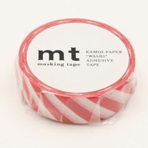 マスキングテープ ストライプ・レッド 15mm×10m/MT01D371【カモ井】マステ/mt/メール便OK|s-bunkadou