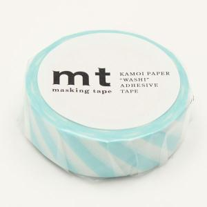 マスキングテープ ストライプ・ミントブルー 15mm×10m/MT01D373【カモ井】マステ/mt/メール便OK|s-bunkadou