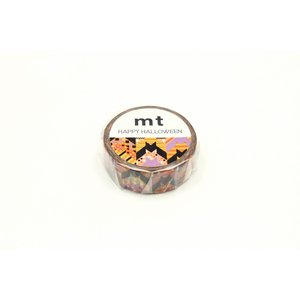 mt ハロウィン2019 バット・チェック 15mm×7m MTHALL16 カモ井 マステ メール便OK|s-bunkadou